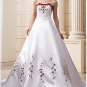 Wedding Dress Red White A-Line Sweep Train Embroidered 16